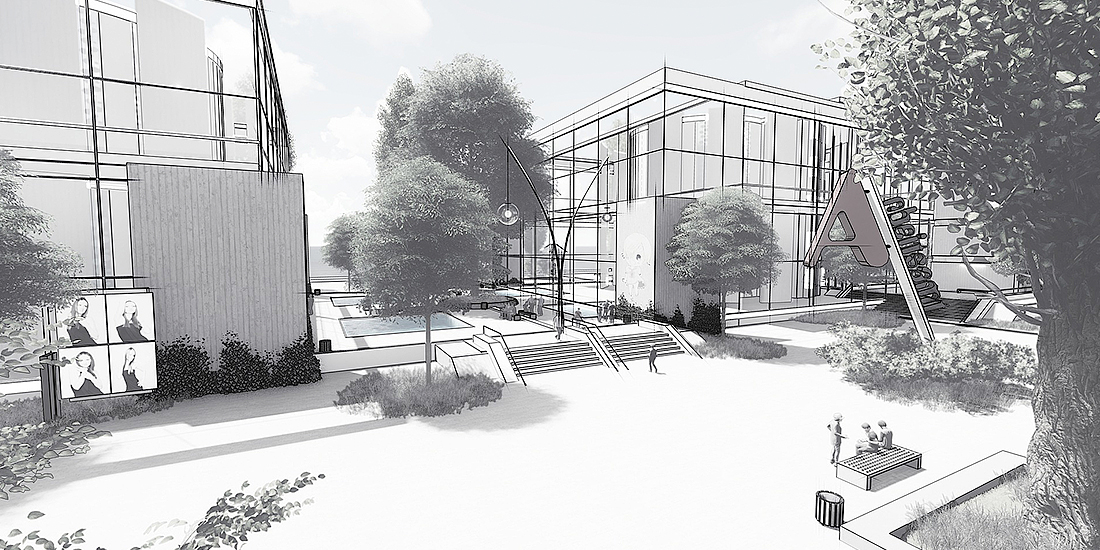 Architectural building drawing with trees in the foreground and vast communal space