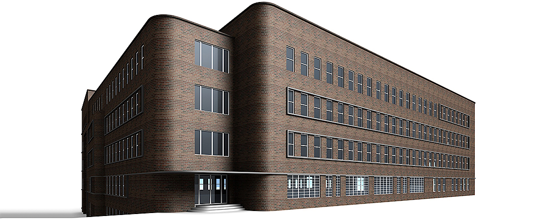 Concept render of an industrial building with a white background
