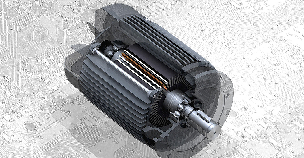 CGI image of a motor placed onto an engineering drawing