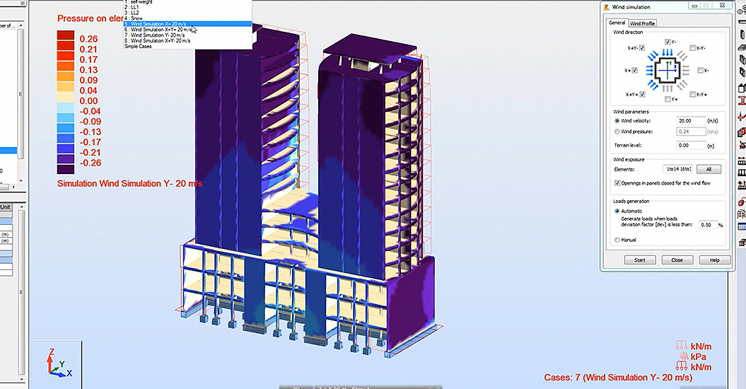 Computer model of building undergoing wind test