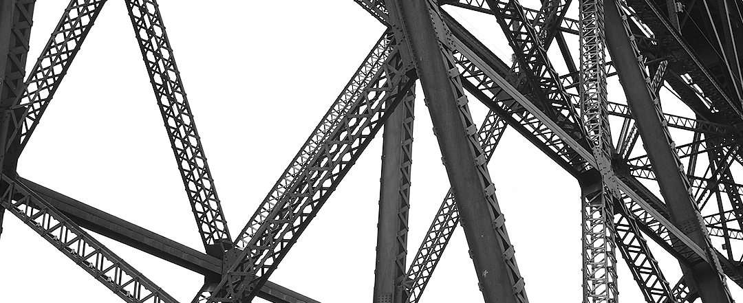 Steel bridge supports taken from an angle