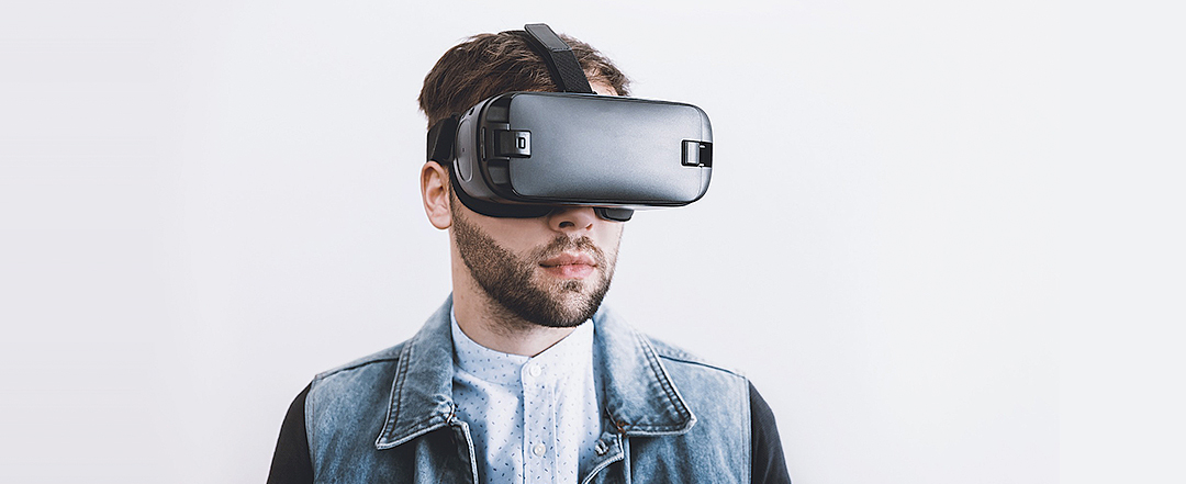 Man looking forward wearing VR glasses